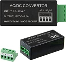 Urban Security Group 24V AC to 12V DC Converter Adapter : 2.5A : Go from AC to DC Power : Input: 20-30VAC : Output: 12VDC 2.5A : Removable Terminal Block : Full Wave Rectifier