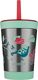 Contigo THERMALOCK Spill-Proof Kids Stainless Steel Tumbler with Straw, 12 oz., Granny Smith with Rocket Design 12 oz Mult...