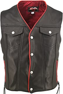 """Men`s Black Leather Motorcycle Vest with Red Trim & Gun Pockets (Chest:40"""" Length: Long / Tall)"""