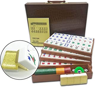 "Mose Cafolo New Chinese Mahjong X-Large 144 Numbered Acrylic Tiles 1.5"" Large Gold Tile with Carrying Travel Case Pro Complete Mahjong Game Set - (Mah Jong, Mahjongg, Mah-Jongg, Mah Jongg, Majiang)"