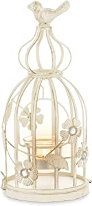 Candle Holder Rustic Decorative Birdcage - for Boho Candle Display Ornaments Display, Vintage Shabby Chic Wedding or Home Decor Whitewashed, Table Centerpiece Accessories, Ivory