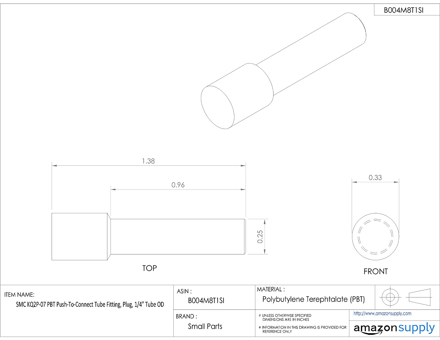 Plug Pack of 10 SMC KQ2P-07 PBT Push-To-Connect Tube Fitting 1//4 Tube OD