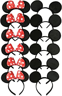 CHuangQi Mouse Ears Solid Black and Red Bow Headband for Boys and Girls Birthday Party Celebration or Event