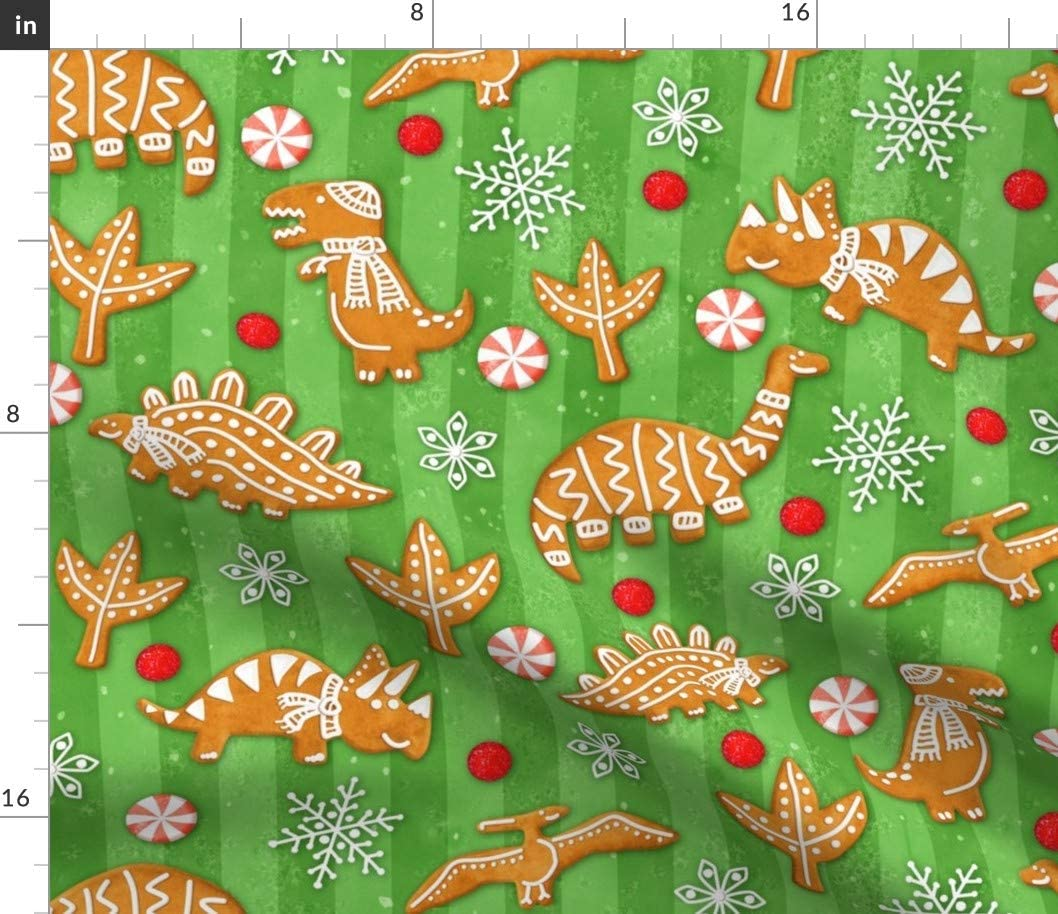 Spoonflower Fabric 希少 - Gingerbread 高品質 Dinos Snowflakes Christmas Cand