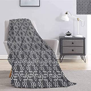 Luoiaax Grey and White Flannel Fleece Throw Blanket Moroccan Star Pattern Arabesque Traditional Tile Symmetrical Motifs Comfortable Soft Warm Large Blanket W60 x L80 Inch Charcoal Grey White