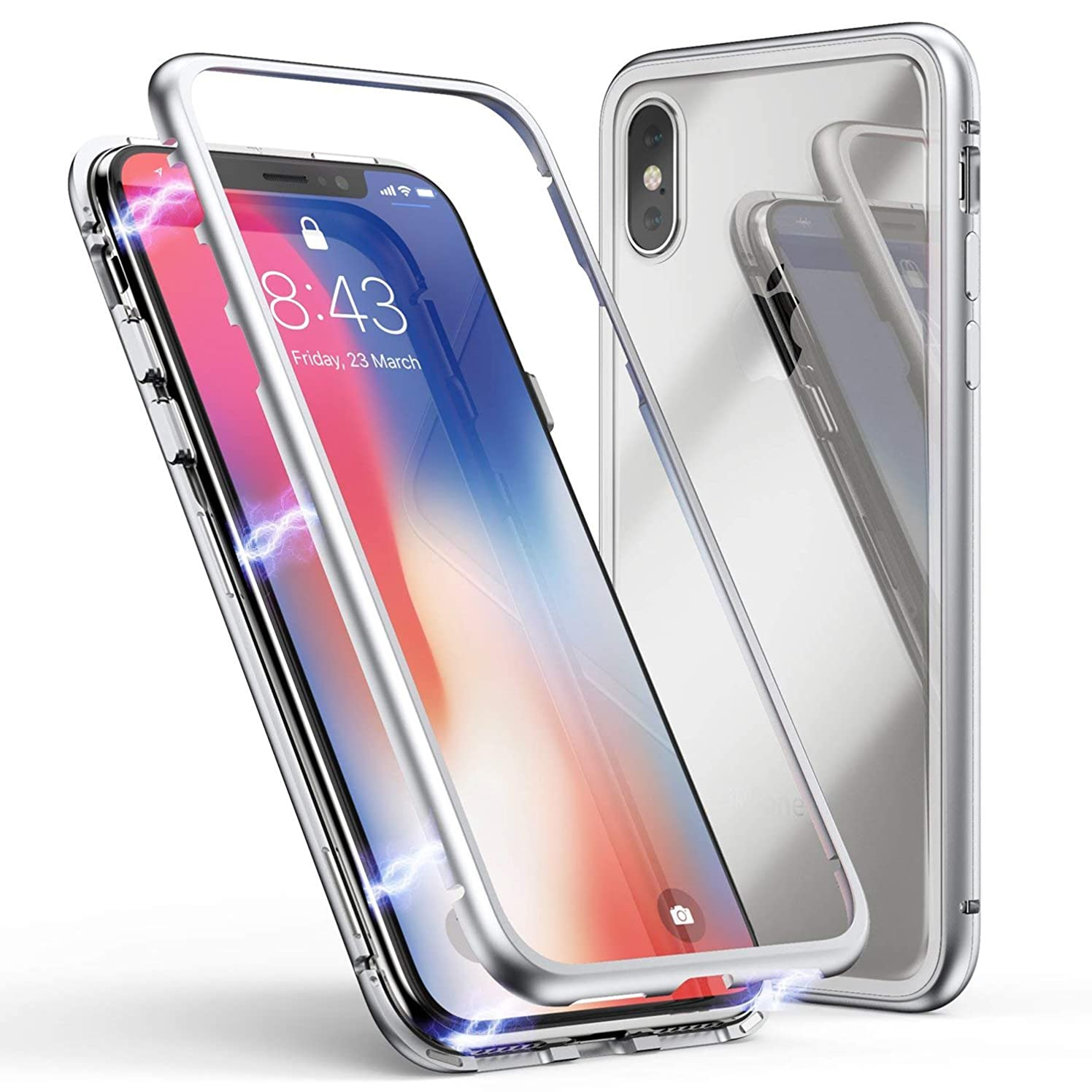 Folice iPhone Xr Case, Ultra Slim Shockproof Metal Frame Build-in Magnet + Tempered Glass Back Case Cover [Magnetic Adsorption] [Support Wireless Charging] for Apple iPhone Xr 6.1