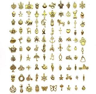 Clest F&H 100 pièces / ensemble pendentifs à breloques en alliage mélangé doré, collier Bracelet breloques bijoux artisana...