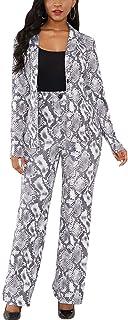 سترة نسائية من قطعتين من Shin Fashion سترة بأكمام طويلة بتصميم ضيق مع بنطلون طويل طقم بدلة للعمل