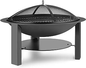 Blumfeldt Mithras • foyer Ø 75cm • foyer pare-étincelles grille • barbecue 60cm • braséro en fonte et en acier • tisonnier pince inclus • Stable par sa construction avec trépied