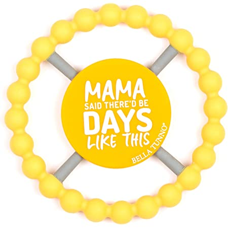 Bella Tunno Silicone Teether with Easy Grip, Soft on Gums and Perfect for Babies, Girls, Boys to Help Soothe Gums, Non-Toxic & Dishwasher Safe Happy Teether, Mama Said