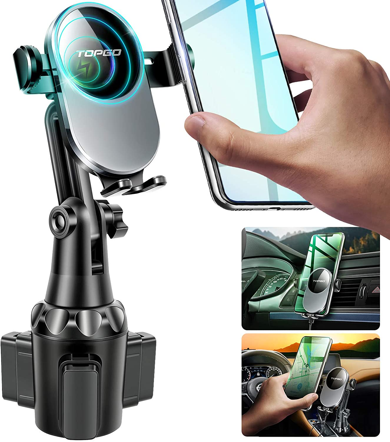 TOPGO Wireless Cup Phone Holder for Toyota Tacoma