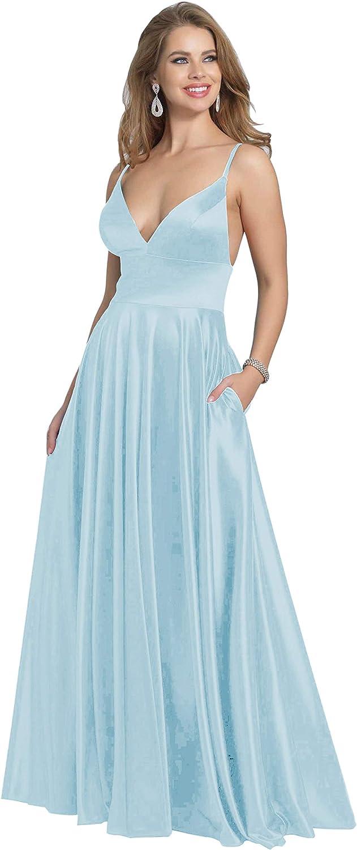 Gyin Deep V Neck Long Prom Dresses for Women Formal Party Ball ...