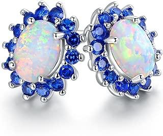 18K White Gold Plated Created Opal Flower Stud Earrings