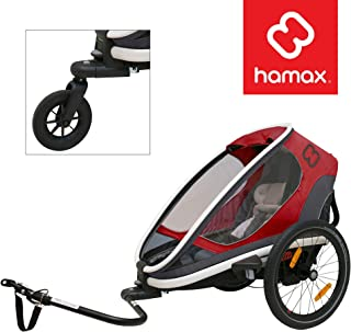 Hamax Outback Multi-Sport Child Bike Trailer + Stroller (Jogger Wheel Sold Separately) (One Seat, Red/Black)