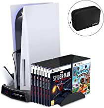 AKNES Vertical Stand with Cooling Fan for PS5/Playstation 5/PS5 Digital Edition, Dual Controller Charger Station with 14 G...