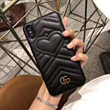 Phone case for iPhone Xs X 10 Case, Elegant Street Fashion Luxury Designer PU Leather Heart Slim Fit Shockproof Cover Case for iPhone Xs X 10 (Black)