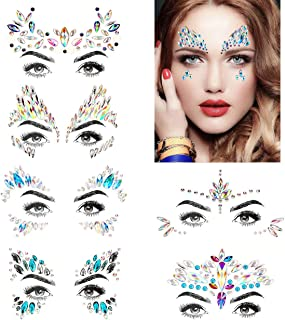 Bling 6 Sets Self-adhesive Mermaid Face Gems Stickers, Rave Festival Face Jewels Crystal Rhinestone Temporary Tattoo Stickers DIY Crafts Gem for Body, Makeup, Festival, Carnival