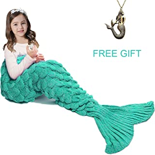 JR.WHITE Mermaid Tail Blanket for Kids,Hand Crochet Snuggle Mermaid,All Seasons Seatail Sleeping Bag Blanket (Green White)