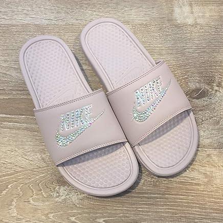 purchase cheap 30155 2a19a Swarovski Nike Slides - Nike Slip On Shoes For Women Rose Color NIKE  Benassi JDI Slides