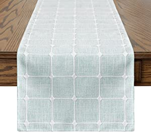 Artoid Mode Rustic Lattice Table Runner Aquamarine White, Countryside Farmhouse Holiday Decorative Kitchen Dining Table Decoration for Home Party Decor 13 x 72 Inch