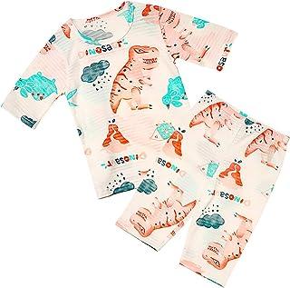 Conjunto de Ropa,Bebe Niña niño Algodón orgánico de bambú Pijama de Manga Suelta de 7 Puntos Ropa de Dormir