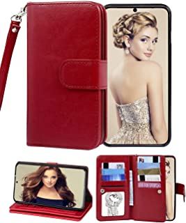 Samsung Galaxy S20 Plus Wallet Case 5G,9 Card Wallet Case with Many Cards Slots and Wrist Strap [Kickstand] Magnetic Closure PU Leather case Flip Protective Purse for Galaxy S20 Plus 6.7 inch-Red