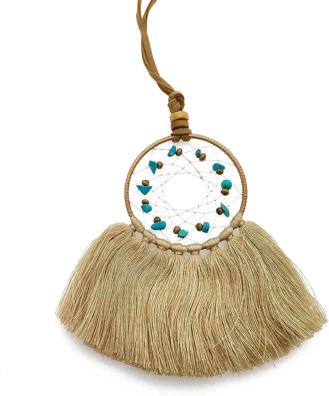 Triangle Plum Women's Pendants Tassel Bohemian Necklace with Dreamcatcher Rope Necklace