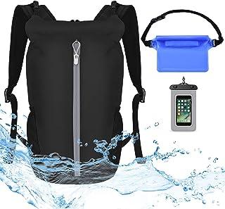 کوله پشتی کیف ضد آب VBIGER - مجموعه کیف کیف دستی بی سیم 20 لیتری - کیسه خشک شناور سبک با بند شانه قابل تنظیم - برای شنای ساحل قایق سواری کمپینگ اسکی پیاده روی ماهیگیری