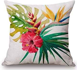 Hand-painted Tropical Flowers and Birds Foliage Plant Christmas Gift Cotton Linen Throw Pillow Case Cushion Cover Home Off...