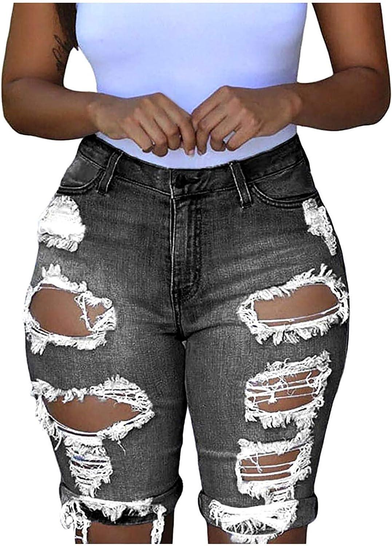 Depslee Women's Denim Shorts, Short Jeans with Stretch Frayed Frayed Hem, Summer Women's Denim Shorts hot Pants with Pockets (Z1-Sky Blue,Large)