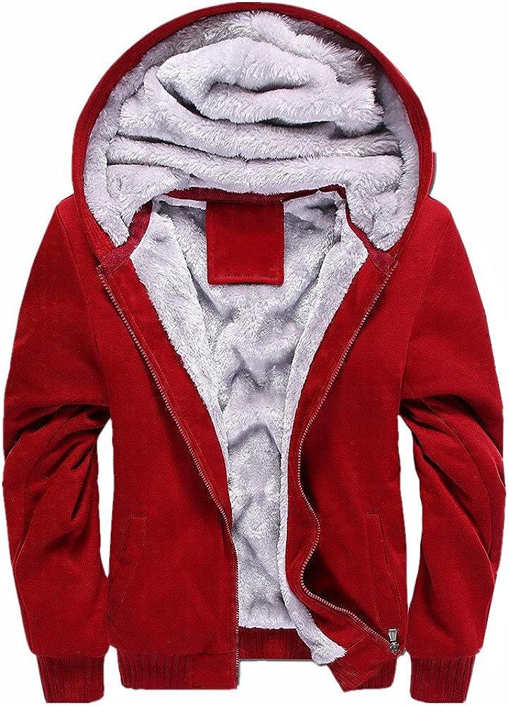 ANBEI Men's Winter Warm Outwear Coats Full Zip Eco Sherpa Fleece Hoodie Jackets