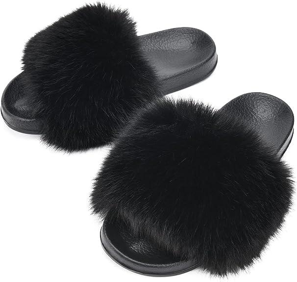 DL Womens-Fur-Fuzzy-Slides-Slippers Open Toe, Cozy Fluffy Bedroom Summer Slippers for Women Non-Slip, Soft Slip on Women's House Slippers Anti-Skip, Comfy Woman Indoor Slide Sandal Lightweight