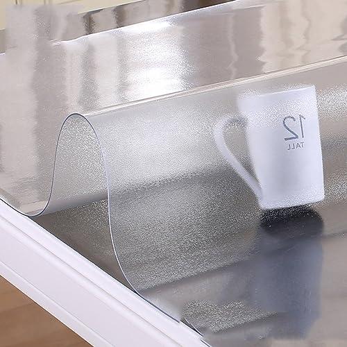 Tablecloth.A ASL Tischdecke Weißes Glas PVC wasserdicht Anti-Heißes tranSpaßentes Scrub Plastic Tischdecke Couchtisch-Matte w en (Farbe   B, Größe   80  120cm)