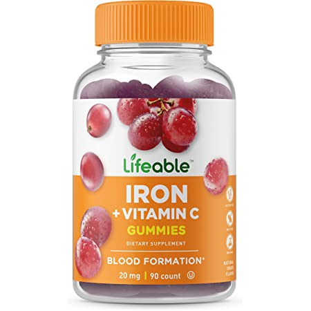 Lifeable Iron with Vitamin C – 20 mg – Great Tasting Natural Flavor Gummy Supplement – Gluten Free Vegetarian GMO-Free Chewable – for Anemia and Iron Deficient – for Adults, Men, Women – 90 Gummies