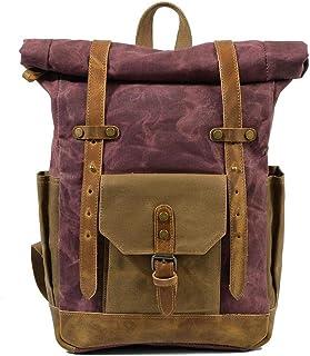 Fostudork Sport Rucksack Vintage Military Rucksack Male Reisetasche Große Kapazität wasserdicht Rucksack-Schule-Schulter-Segeltuch-Mann-beiläufige Daypacks, weinrot