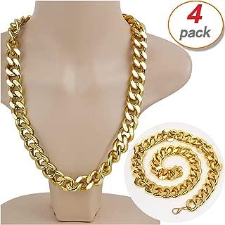 Yo-fobu 4 Pack Hip Hop Chain Necklace Rapper Gold Costume Necklace Jewelry Rapper Necklace, Long 22 inches, Wide 20mm