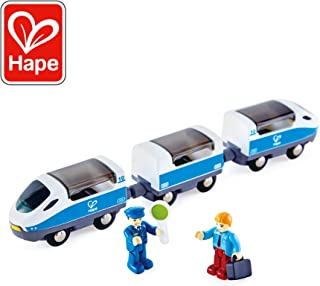 Hape Intercity Train Toy , Kids Train Toy Set with Accessories, 3 x Open/Close Magnetic Carriages, Passenger and Driver Figurines Included, Blue/White