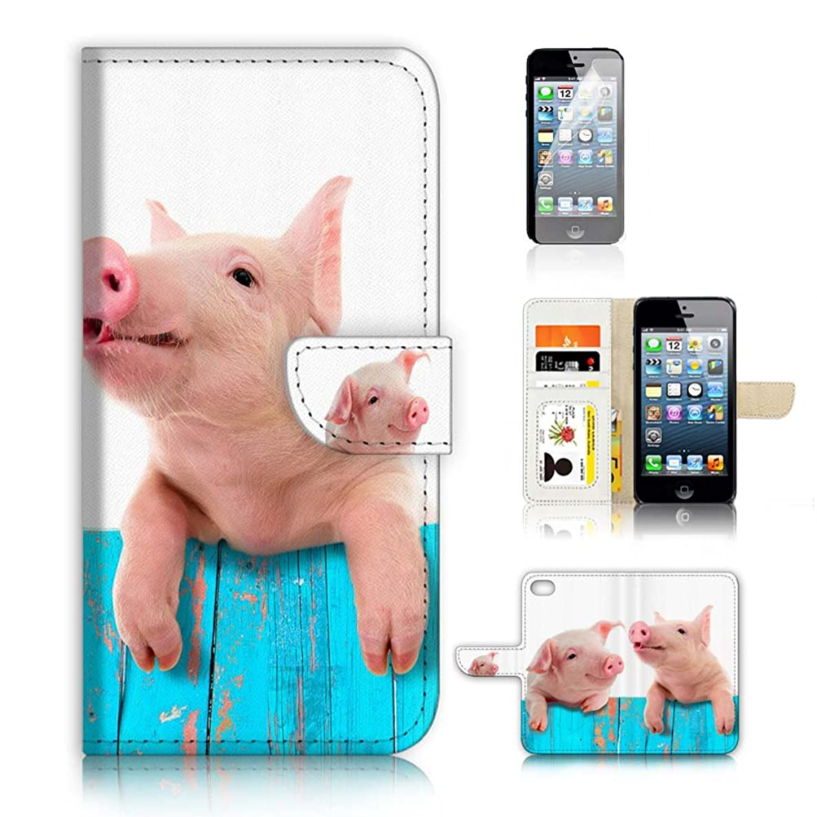 ( For iPhone 5 5S / iPhone SE ) Flip Wallet Case Cover and Screen Protector Bundle A8645 Cute Baby Pig