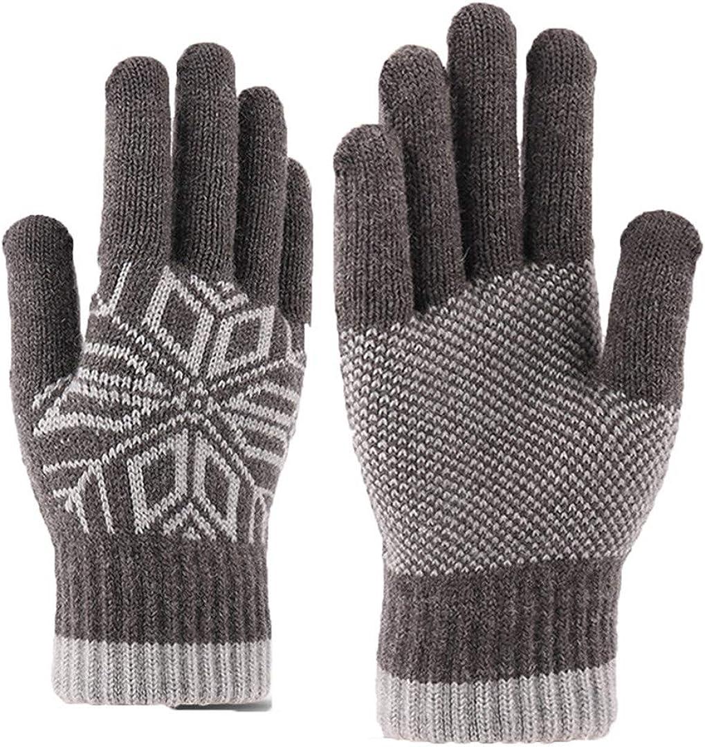 Touch Screen Knitted Gloves Men Women Thicken Wool Mitten Outdoors Anti-Slip Warmer Couple Gloves Snowflake grey