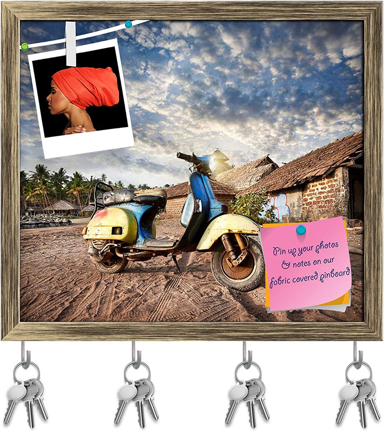 Artzfolio Old Retro Scooter On The Sandy Beach Key Holder Hooks   Notice Pin Board   Antique golden Frame 18 X 16Inch