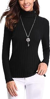 tinta unita accogliente con collo alto Bricnat Maglie da donna a collo alto camicetta a maniche lunghe