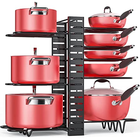 Pan Organizer Rack for Cabinet, Pot Rack with 3 DIY Methods, Adjustable Pots and Pans Organizer under Cabinet with 8 Tiers, Large & Small Pot Organizer Rack for Cabinet Kitchen Cookware Organizer