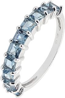 Sterling Silver Princess Cut Genuine Gemstone Aquamarine Blue Topaz Garnet Peridot Eternity Band Ring