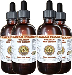 Calamus and Ginger Liquid Extract, Organic Calamus (Acorus Calamus) and Organic Ginger (Zingiber officinalis) Dried Root Tincture Supplement 4x4 oz