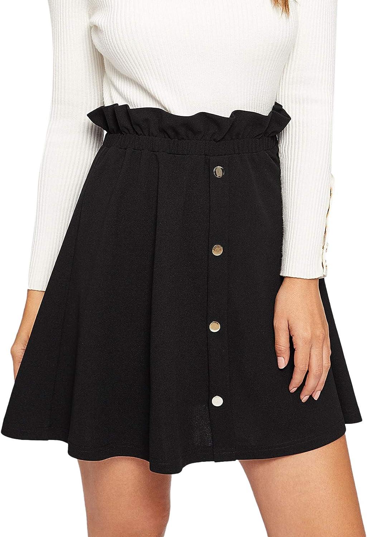 Milumia Women Casual Paperbag High Waist Short Skirt Button Front Ruffle A Line Skirt