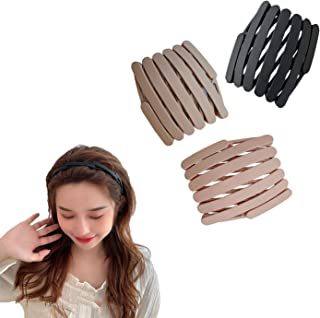 Retractable Pocket Headband Thin Plastic Flodable Hairband for Women with Teeth 3 pcs Retractable Hair Band for Women Men ...