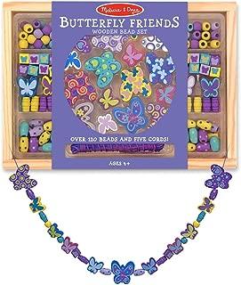Melissa & Doug Wooden 'Butterfly Friends' Bead Accessory Creation Set + Free Scratch Art Mini-Pad Bundle [41799]