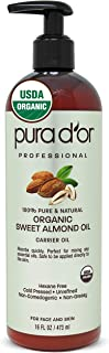 PURA D'OR Organic Sweet Almond Oil 16oz USDA Certified Organic 100% Pure & Natural Hexane Free Soothing Vitamin E Oil for Skin & Face, Facial Polish, Full Body, Massages, DIY Base (Packaging may vary)