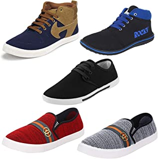 Shoefly Men Combo Pack of 5 Casual Sneakers with Loafers & Moccasins Shoes