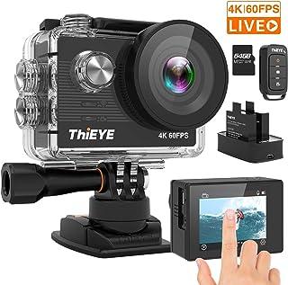 ThiEYE Cámara Deportiva 4K/60fps Ultra HD WiFi 20MP Videocámara de Accion de 60M Sumergible Gran Angular de 170 ° Control Remoto EIS2 baterías Recargables 64G tarjeta de memoria y Kit de Montaje